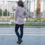 Стилен дамски комплект туника (Розова) с еластичен зимен панталон (Син)