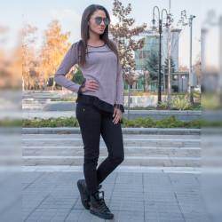 Стилен дамски комплект туника с тюл (Розова) с еластичен зимен панталон (Черен)