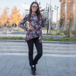 Стилен дамски комплект туника ''Цветя'' (Сива) с еластичен зимен панталон (Черен)