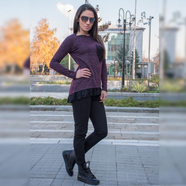 Стилен дамски комплект туника (Патладжан) с еластичен зимен панталон (Черен)