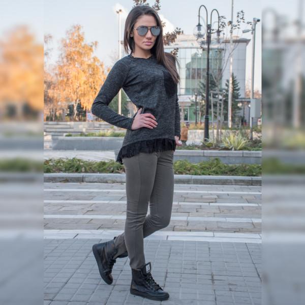 Стилен дамски комплект туника (Черна) с еластичен зимен панталон (Зелен)