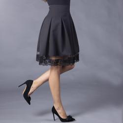 Разкроена дамска пола с висока талия и бордюрна дантела