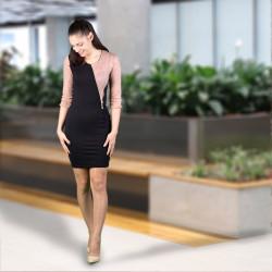 Стилна дамска рокля с декорация цип