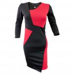 Официална асиметрична дамска рокля в черно и червено