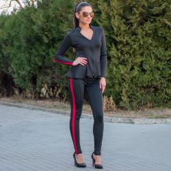 Елегантен дамски костюм от сако и клин в черно с червен кант