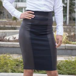 Елегантна дамска пола с висока талия в сиво и тъмно синьо