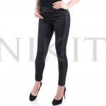 Стилен дамски панталон с кожени елементи