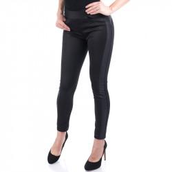Спортно елегантен дамски панталон с кожа -Черен
