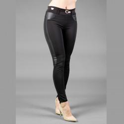 Официален дамски панталон комбиниран с кожа и подарък