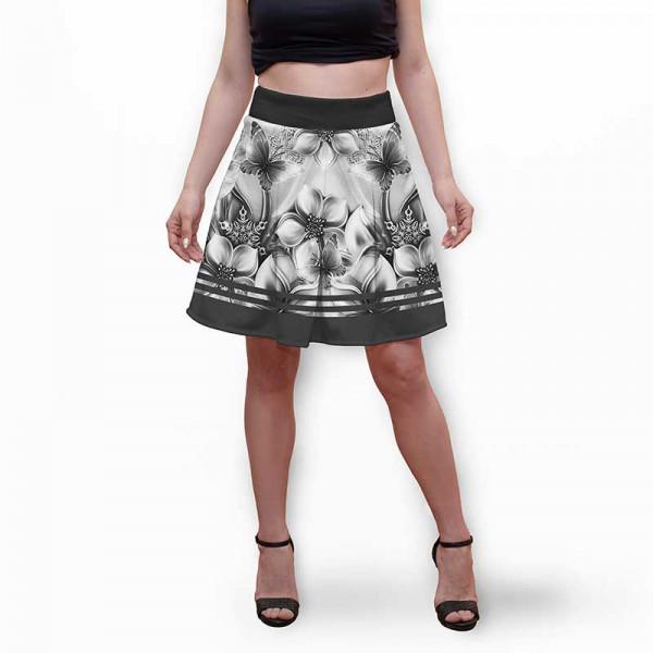 Разкроена дамска пола с 3D авторски принт Palms