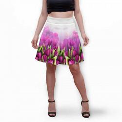 Разкроена дамска пола с 3D авторски принт Tulips