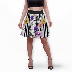Разкроена дамска пола с 3D авторски принт Temy