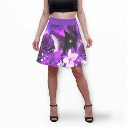 Разкроена дамска пола с 3D авторски принт флорални мотиви