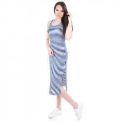 Дълга дамска ''моряшка'' рокля с цепка