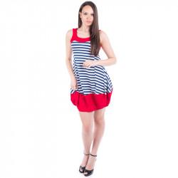 Ефирна ''моряшка'' рокля с бордюр в червен цвят