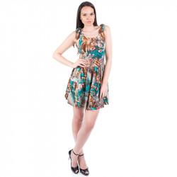 Къса дамска рокля с цветен принт ''Зелен паун''