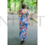 Дълга дамска рокля с цветен принт на син фон