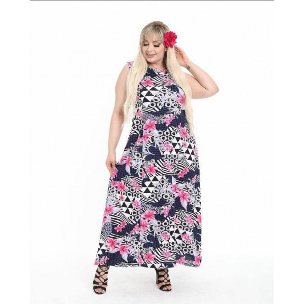 Дълга лятна рокля с цветен принт