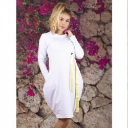 Елегантна дамска рокля Балон цвят бял