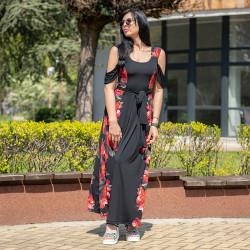 Дълга дамска рокля с цветен принт на цветя