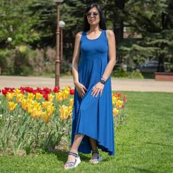 Феерична дамска дълга рокля в цвят тюркоаз