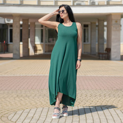 Феерична дамска дълга рокля в петролен цвят
