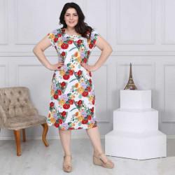 Дамска рокля с къси ръкави и флорални мотиви Maxi Фантазия