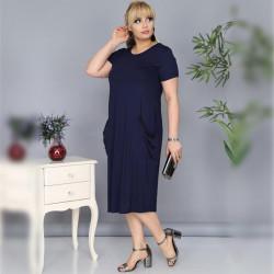 Дамска Maxi рокля с къс ръкав и джобове в тъмно синьо
