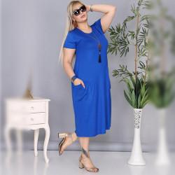 Дамска Maxi рокля с къс ръкав и джобове в тюркоаз