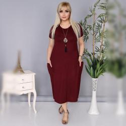 Дамска Maxi рокля с къс ръкав и джобове в бордо