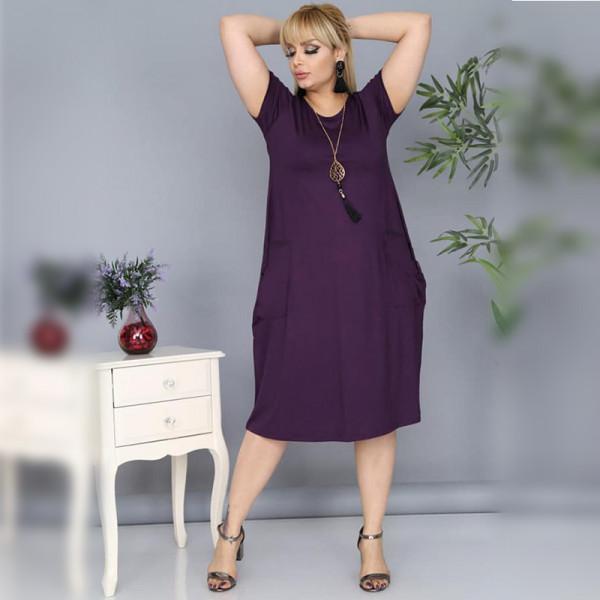 Дамска Maxi рокля с къс ръкав и джобове в цвят патладжан