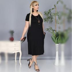 Дамска Maxi рокля с къс ръкав и джобове в черно