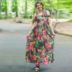 Дълга дамска рокля с цветен принт на зелен фон