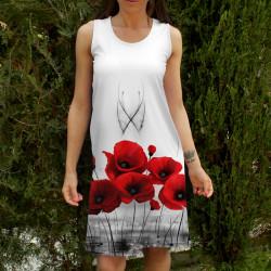 Лятна къса дамска рокля с Макове