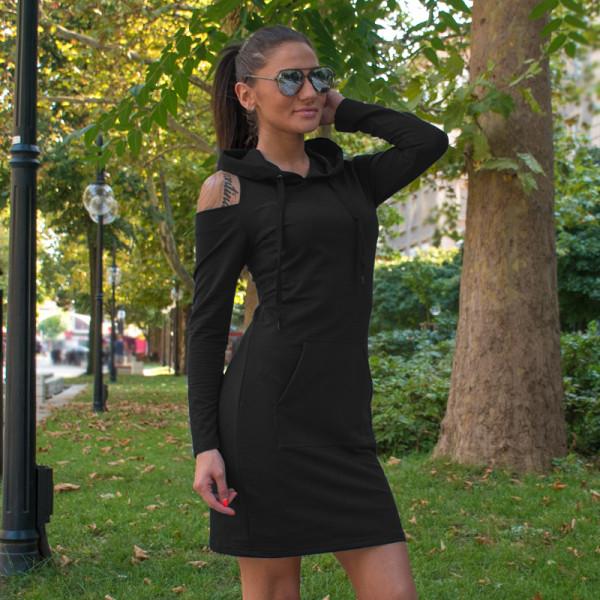 Ежедневна спортна дамска рокля черен цвят