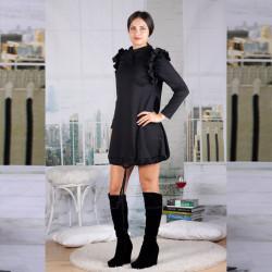 Стилна дамска рокля тип балон в класическо черно