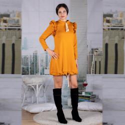 Интересна дамска рокля тип балон в цвят горчица