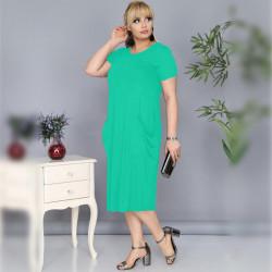 Дамска Maxi рокля с къс ръкав и джобове с цвят мента