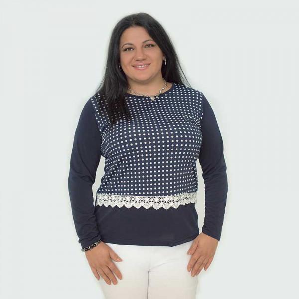 Спортна-елегантна макси дамска блуза с дантела