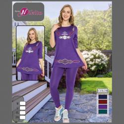 Спортен дамски комплект туника с клин в цвят лилав
