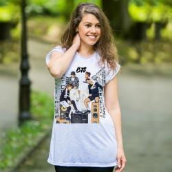 Дамска туника от варен памук с щампа BTS Boys