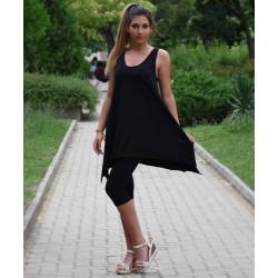 Спортен дамски комплект туника с клин Черен цвят