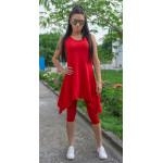 Спортен дамски комплект туника с клин в червено