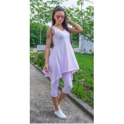 Спортен дамски комплект туника с клин в светло лилаво