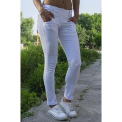 Спортно-елегантен дамски панталон - бял