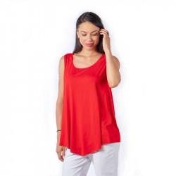 Дамски потник в полуклош в цвят червен