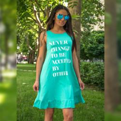 Ефирна дамска рокля с щампа в цвят мента