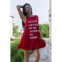Ефирна дамска рокля с щампа в червен цвят