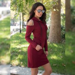 Ежедневна спортна дамска рокля цвят бордо
