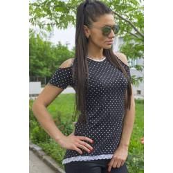 Дамска блуза с къс ръкав цветен принт Anita